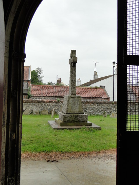 Winterton War Memorial from the south porch of the church