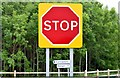 "J5673 : ""Stop"" sign, Ballyblack, Carrowdore (June 2015) by Albert Bridge"