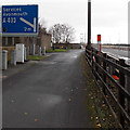 ST5491 : Junction sign and emergency phone alongside the M48, Chepstow by Jaggery