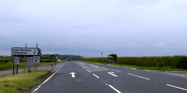 Bus stops at the turning for Low Marishes on A169