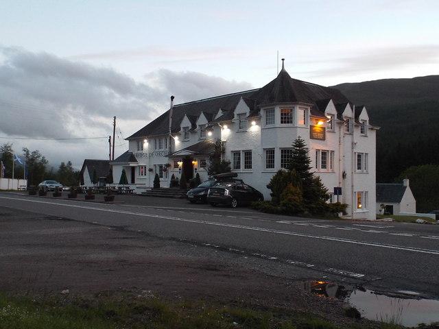 Bridge of Orchy Hotel at dusk