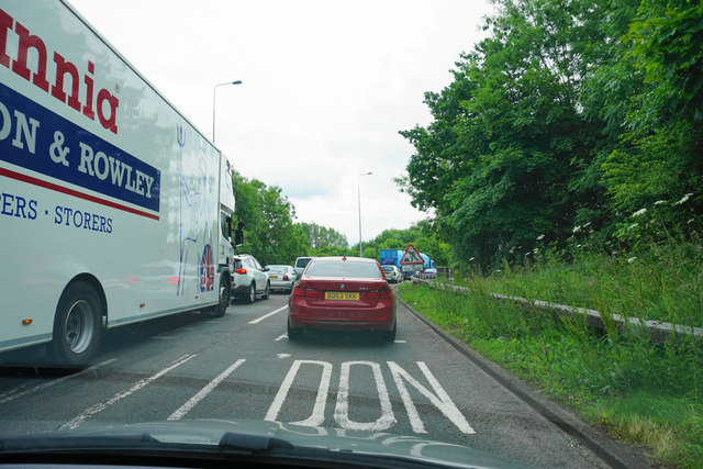Stopped traffic on the Stivichall roundabout