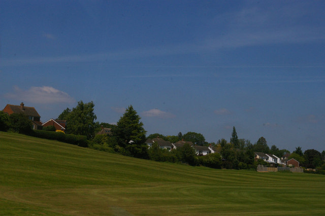 School playing fields and suburban housing, Meole Brace, Shrewsbury