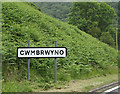 SN7080 : Cwmbrwyno Village Name sign on the A44 by Adrian Cable