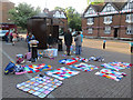 SP9211 : Preparing to Yarn Bomb the Bus Shelter in Tring's Church Square by Chris Reynolds