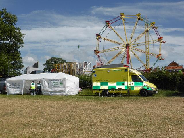 Bromyard Gala - ambulance and big wheel © Chris Allen :: Geograph
