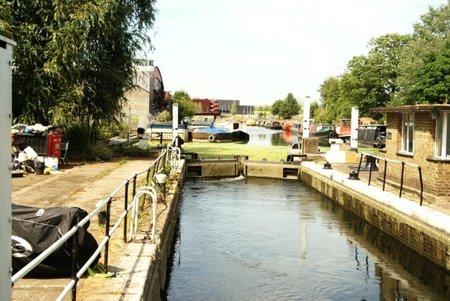 View of the River Lea from the footbridge by Old Ford Lock #2