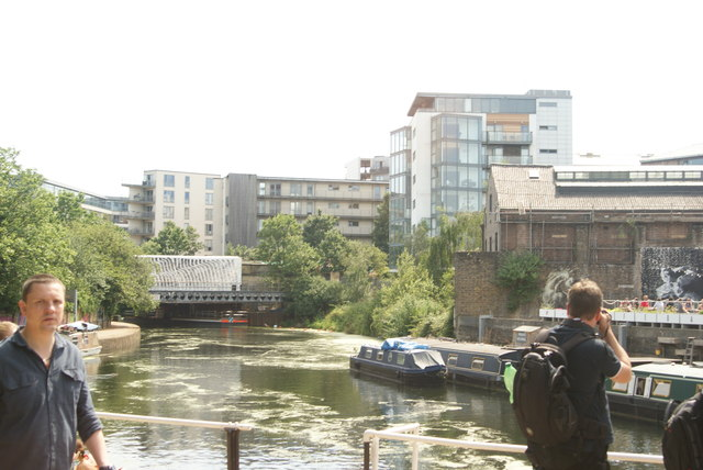 View of the River Lea from the footbridge by Old Ford Lock #4