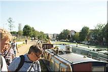 TQ3784 : View back down the River Lea towards Old Ford Lock by Robert Lamb