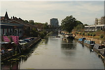 TQ3784 : View up the River Lea Navigation from the footbridge leading to the Olympic Park and Hackney Wick by Robert Lamb