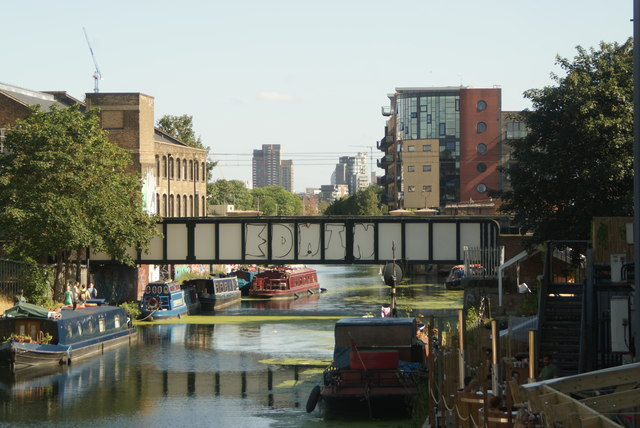View of the London Overground bridge from the footbridge leading from the Olympic Park to Hackney Wick #2