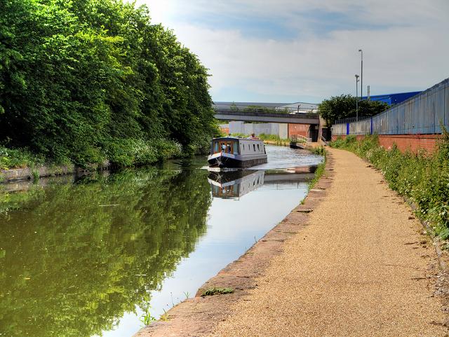 Narrowboat on the Bridgewater Canal at Trafford Park