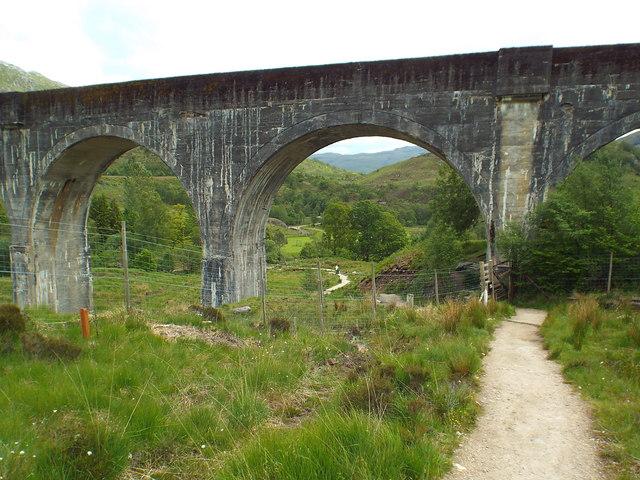 Path under Glenfinnan viaduct