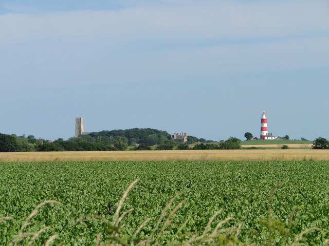 Happisburgh church and lighthouse from Lessingham church