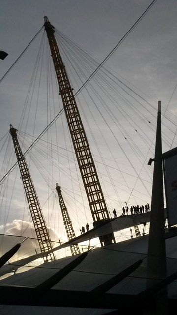 Greenwich: silhouettes on the O2 walkway