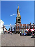SK7953 : The Spire of St Mary Magdalene Church viewed from The Market Square, Newark by Peter Wood