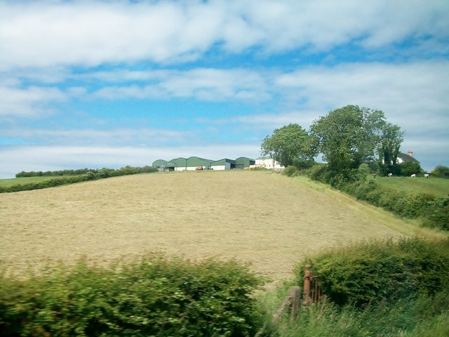 Drumlin slope hay field below hill-top farm buildings