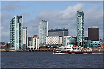 SJ3290 : Mersey ferry approaching Seacombe by Mike Pennington