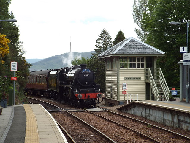 Steam train arriving at Glenfinnan
