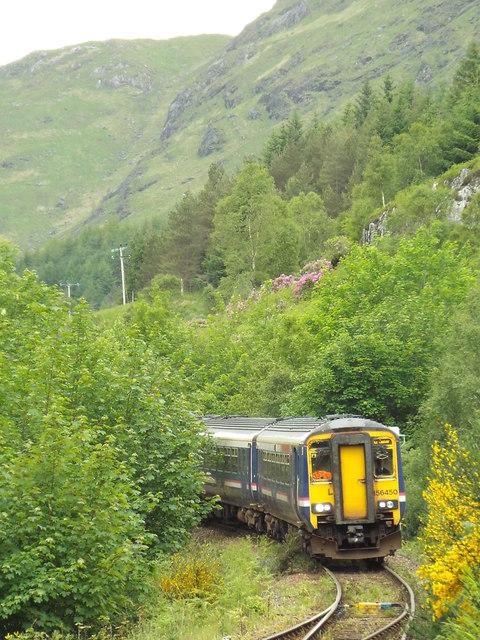 ScotRail train approaching Glenfinnan