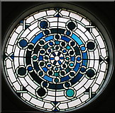 TQ2878 : Stained glass window on staircase, Cadogan Hall by David Hawgood