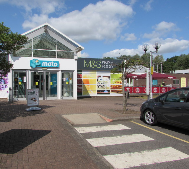Eastern entrance to the main building at Leigh Delamere Eastbound services