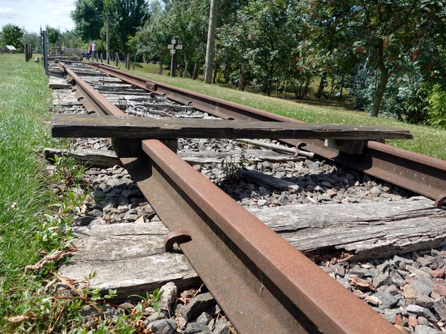 Replica railway track at the Sumatra Railway Memorial