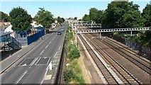 TQ4085 : Road and rail near Forest Gate station by David Martin