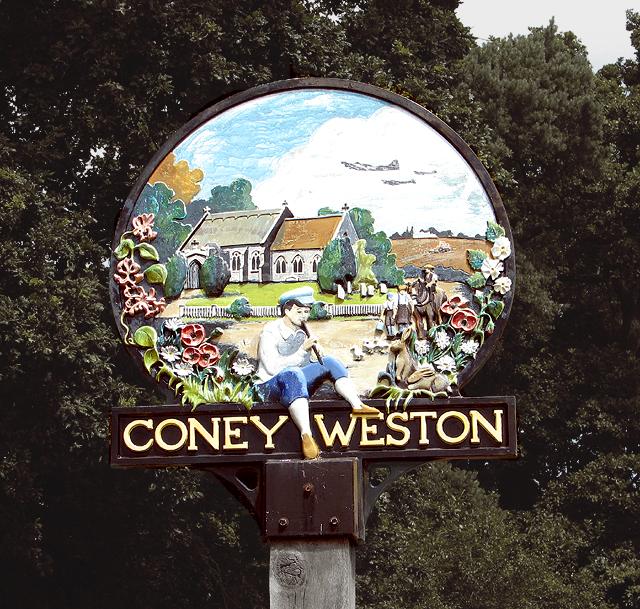 Coney Weston village sign (detail)