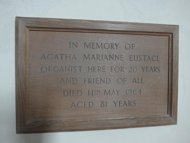 Christ Church, Parracombe: memorial (B)