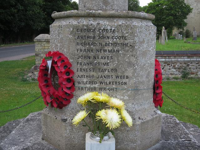 Barrington war memorial names