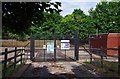 SO8557 : Entrance gates to National Grid Bilford Road site, Worcester by P L Chadwick