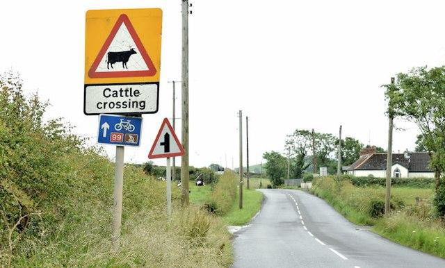 Three roads signs, Ballyhaft, Newtownards/Carrowdore (July 2015)