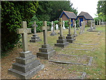 SU7963 : St James, Finchampstead: crosses in the churchyard by Basher Eyre