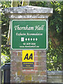 TM1072 : Thornham Hall sign by Adrian Cable