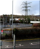 ST2995 : Electricity substation and pylon in central Cwmbran by Jaggery