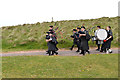 NG7578 : Pipe band at Sands Holiday Centre (2) by Nigel Brown