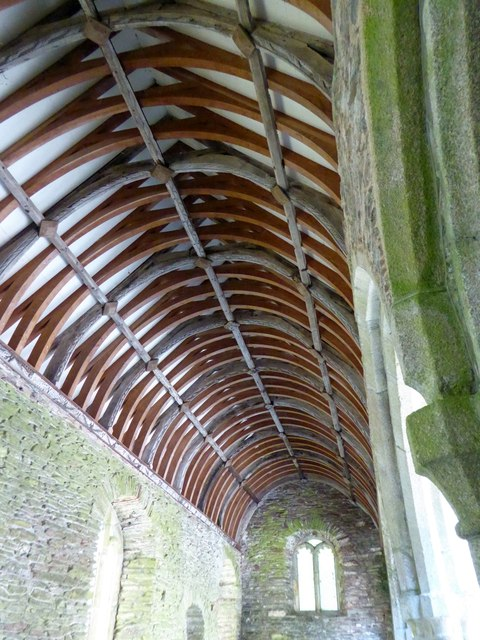 The roof of the south aisle, ruined church at Stoke