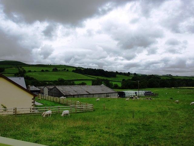 Buildings and pasture at Llanbachowey Farm