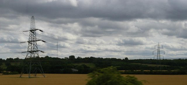 Pylon line and TV transmitter from the railway north of Sandy