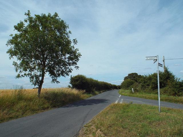 Country lane junction near Little Oakley