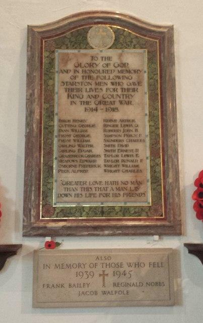 War memorial inside St Margaret's church, Starston
