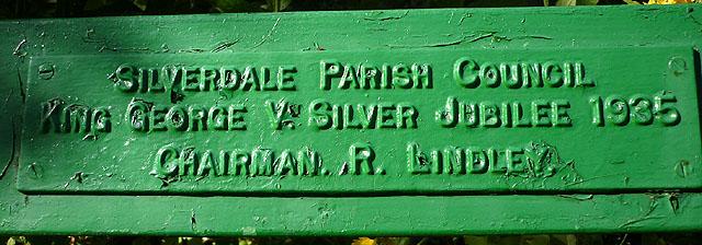 Plaque on commemorative bench, Stankelt Road, Silverdale