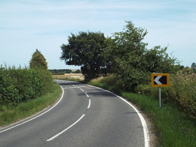 A bend in the B1414, near Great Oakley