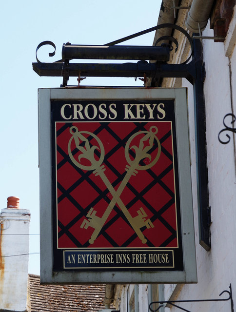 Cross Keys (2) - sign, Ombersley, Worcs