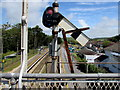 SN3610 : White back of a semaphore signal in the go position, Ferryside railway station by Jaggery