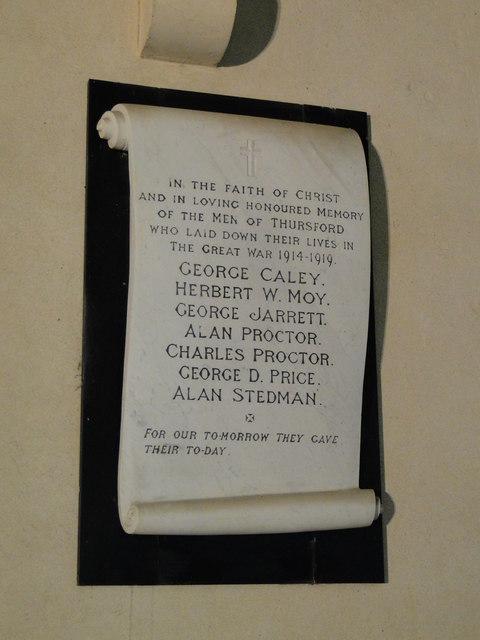 Thursford WW1 Memorial