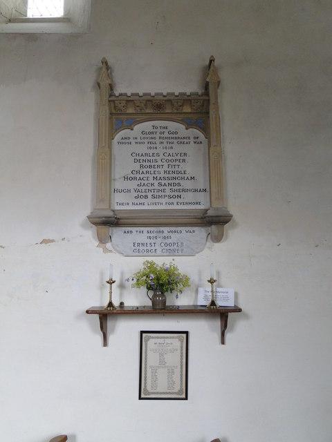 Thornage War Memorials