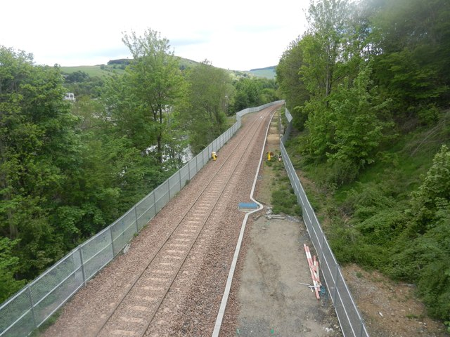 The Borders Railway track passing between Langlee and Netherdale in Galashiels
