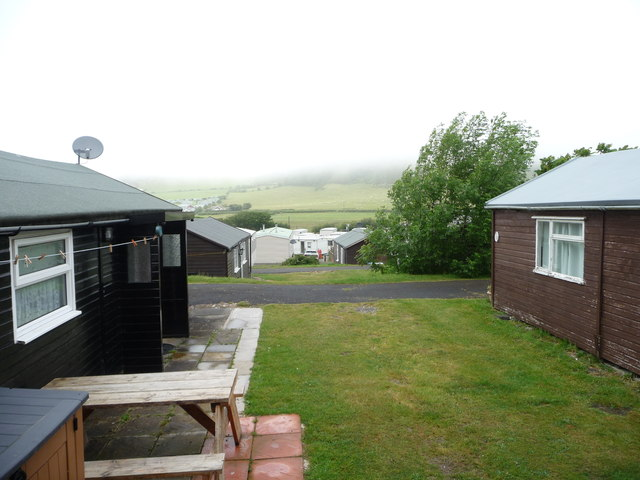 Low cloud at Clarach Bay Holiday Village